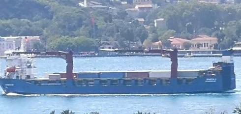 Tàu chở hàng cỡ lớn Roro Sparta II treo cờ Nga được cho chở vũ khí tới Syria. (Ảnh: Twitter)