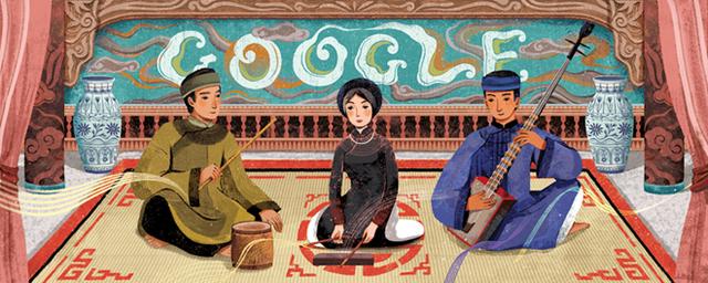 Biểu tượng đặc biệt về ca trù được thay thế tạm thời cho biểu tượng Google trên trang chủ Google.com.vn trong 1 ngày 23/2 (Ảnh: Google)