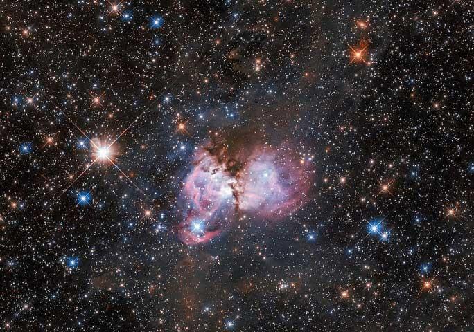Cận cảnh đám mây hồng đang sinh ra hàng loạt sao khổng lồ - (ảnh: NASA/ESA).