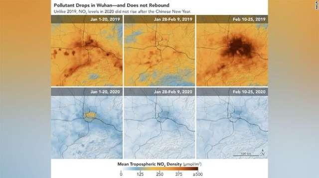 Ảnh chụp vệ tinh tại Vũ Hán cho thấy các chỉ số ô nhiễm không khí đã giảm đáng kể và đang duy trì ở mức tích cực - Ảnh: CNN