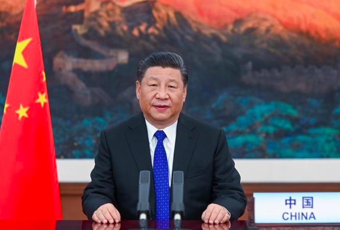 Chủ tịch Trung Quốc Tập Cận Bình có bài phát biểu trực tuyến tại hội nghị của Hội đồng Y tế thế giới ngày 18/5. Ảnh: Xinhua