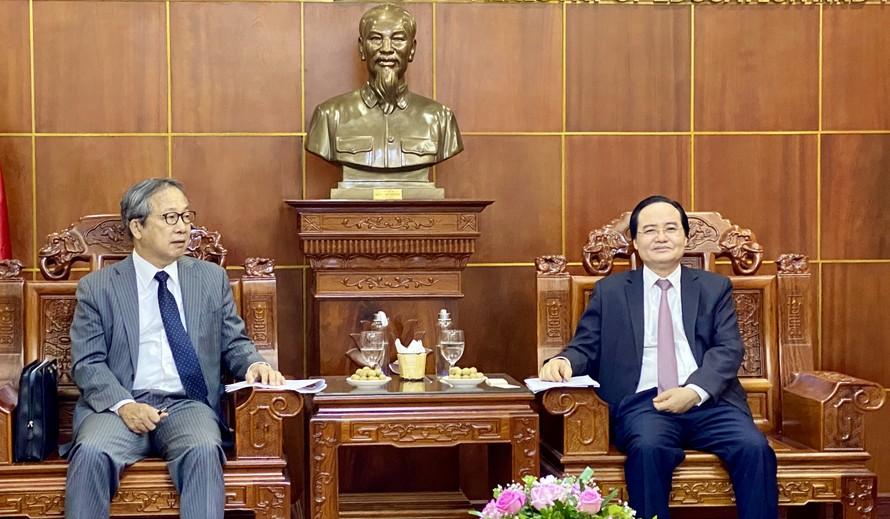 Bộ trưởng Phùng Xuân Nhạ và Đại sứ Yamada Takio tại buổi làm việc hôm 31/8/2020. Ảnh: Thanh Tuấn