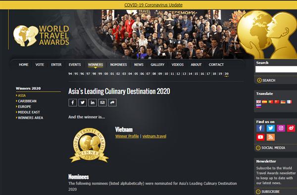 Giành chiến thắng ở hạng mục Điểm đến ẩm thực hàng đầu châu Á năm 2020