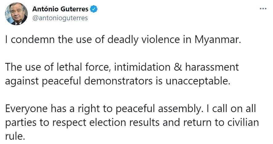 Tổng thư ký Liên Hợp Quốc Antonio Guterres phản đối bạo lực ở Myanmar. Ảnh: Ảnh chụp màn hình.
