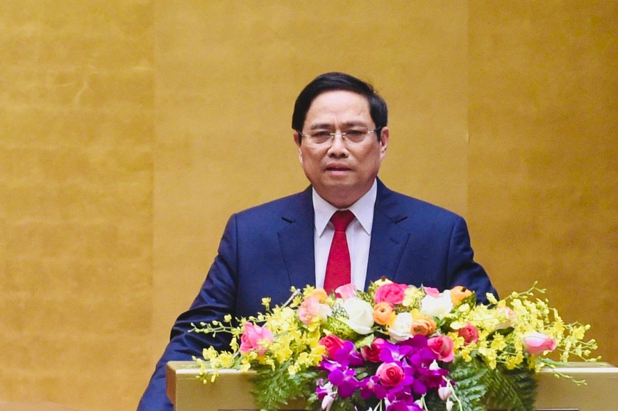 Đồng chí Phạm Minh Chính, Ủy viên Bộ Chính trị, Trưởng ban Tổ chức Trung ương phát biểu tại Hội nghị. Ảnh: VGP/Nhật Bắc