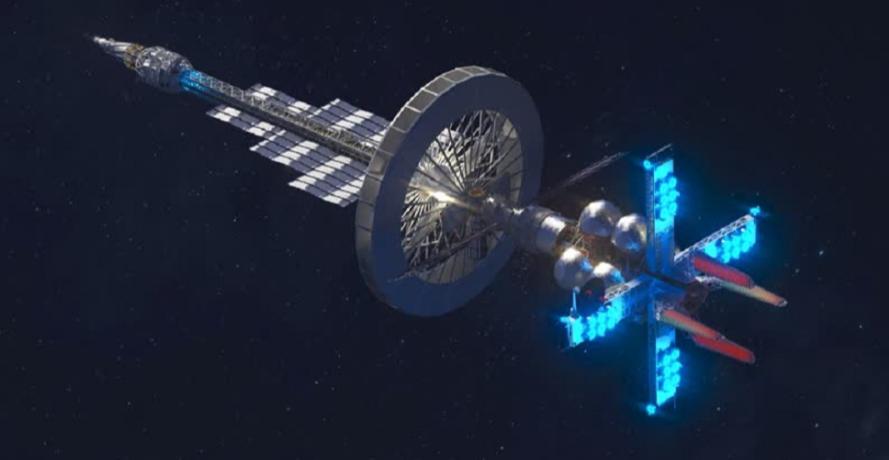 Cơ quan hàng không vũ trụ Roscosmos của Nga đã tiết lộ thiết kế của các vệ tinh và trạm vũ trụ tương lai được trang bị với tàu kéo chạy bằng năng lượng hạt nhân. Ảnh: defensehere.com
