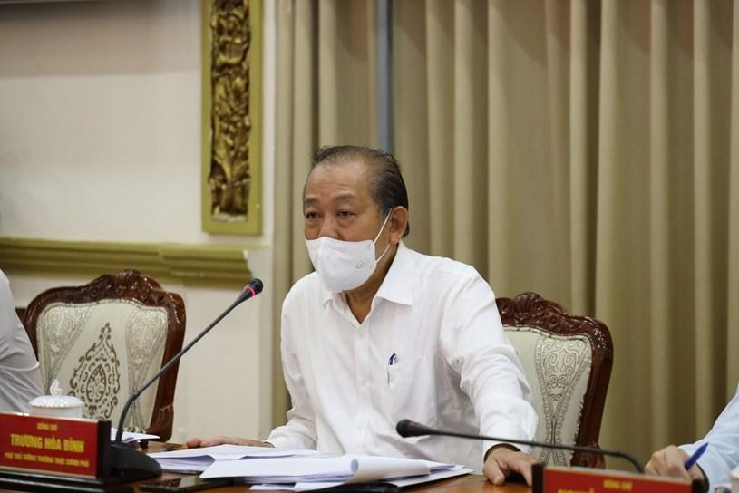 Phó Thủ tướng Thường trực Trương Hòa Bình tại cuộc họp với Thành ủy TPHCM trưa ngày 19/6. Ảnh: Trung tâm Báo chí TPHCM