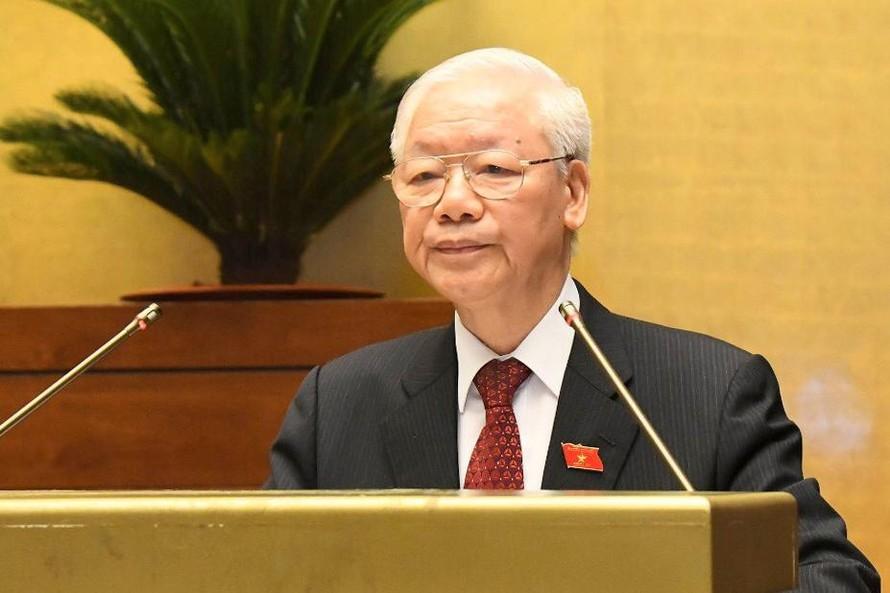 Tổng Bí thư Nguyễn Phú Trọng: Quốc hội cần phát huy những thành tựu và kinh nghiệm của suốt 75 năm qua, tiếp tục đổi mới, nâng cao hơn nữa chất lượng và hiệu quả hoạt động để đáp ứng tốt nhất yêu cầu, nhiệm vụ chính trị của đất nước trong giai đoạn mới. Ảnh VGP