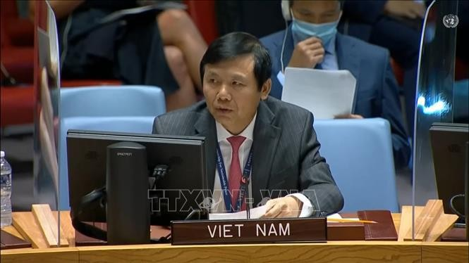 Đại sứ Đặng Đình Quý - Trưởng phái đoàn đại diện Việt Nam tại Liên hợp quốc. Ảnh: Hữu Thanh/TTXVN