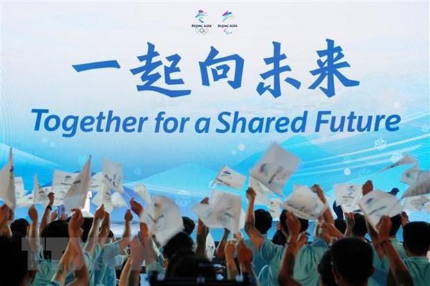 Lễ công bố khẩu hiệu chính thức Olympic mùa Đông Bắc Kinh 2022 ở Bảo tàng Thủ đô Bắc Kinh, Trung Quốc ngày 17/9/2021. (Ảnh: THX/TTXVN)