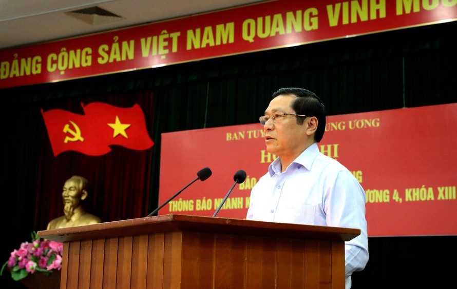 Đồng chí Lại Xuân Môn, Uỷ viên Trung ương Đảng, Phó Trưởng ban Thường trực Ban Tuyên giáo Trung ương phát biểu tại Hội nghị. (Ảnh: TA)