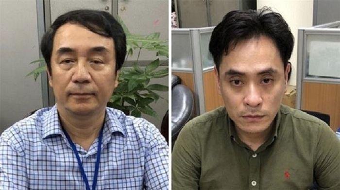 """Bị can Nguyễn Duy Hải (phải) gặp và """"nhờ"""" bị can Trần Hùng xử lý nhẹ vụ việc. (Ảnh: Bộ Công an)"""