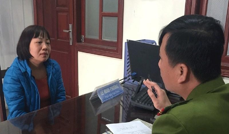 Cựu nữ PV Đào Thị Thanh Bình tại cơ quan công an. Ảnh: Báo Bắc Giang
