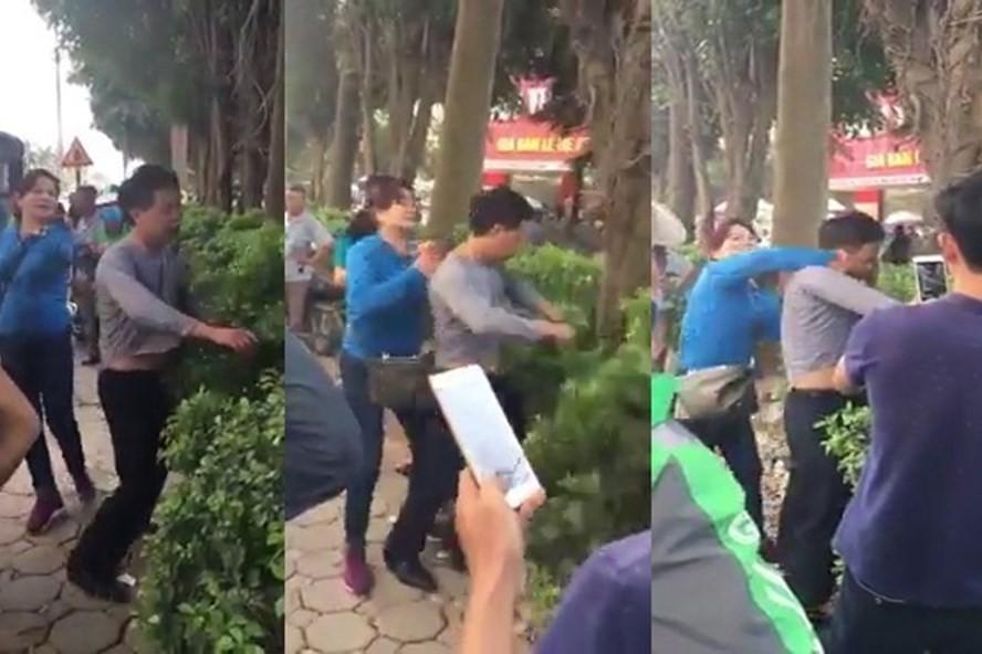 Hình ảnh người phụ nữ đánh người đàn ông vì cho rằng người này sờ ngực mình khi ở trên xe buýt.