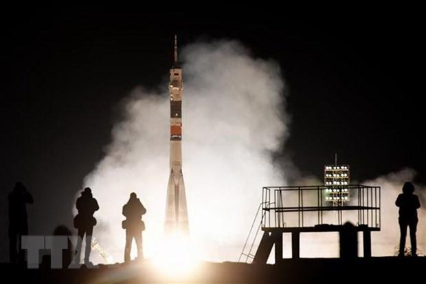 Tên lửa đẩy mang theo tàu vũ trụ Soyuz MS-12 của Nga rời bệ phóng tại bãi phóng Baikonur Cosmodrome ở Kazakhstan, ngày 14/3/2019. (Ảnh: AFP/TTXVN)
