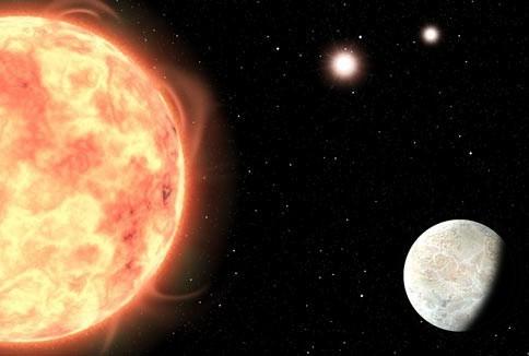 Mô phỏng của Sci-News về hành tinh mới phát hiện và 3 mặt trời