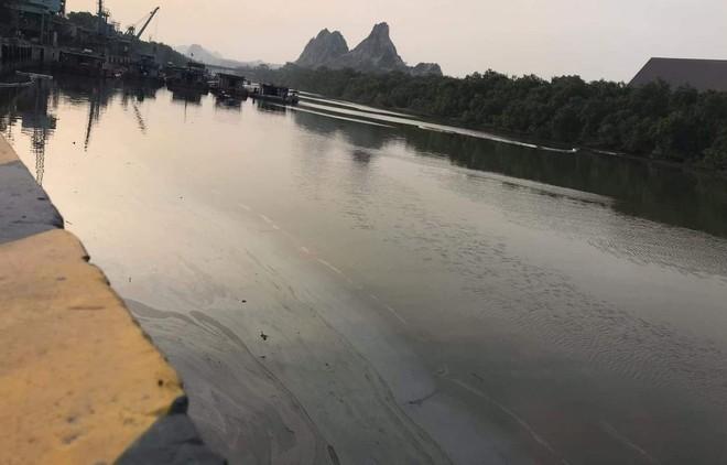 Hàng nghìn lít dầu tràn ra ngoài khiến sông Thoát bị phủ đen bề mặt. - Ảnh: Zing.vn