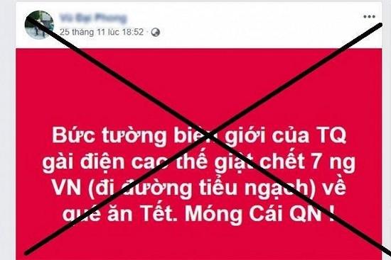 Thông tin về việc 7 công dân Việt Nam tử nạn ở biên giới Trung Quốc xuất hiện trên mạng xã hội. - Ảnh: Người Đưa Tin