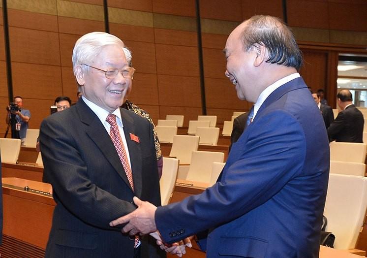 Tổng Bí thư, Chủ tịch nước Nguyễn Phú Trọng và Thủ tướng Chính phủ Nguyễn Xuân Phúc.