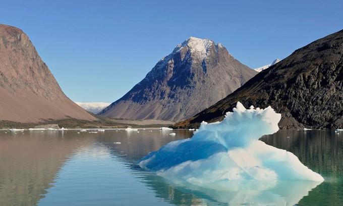 Tảng băng trôi nhỏ trong vịnh băng ở phía nam Greenland. - Ảnh: Business Insider.