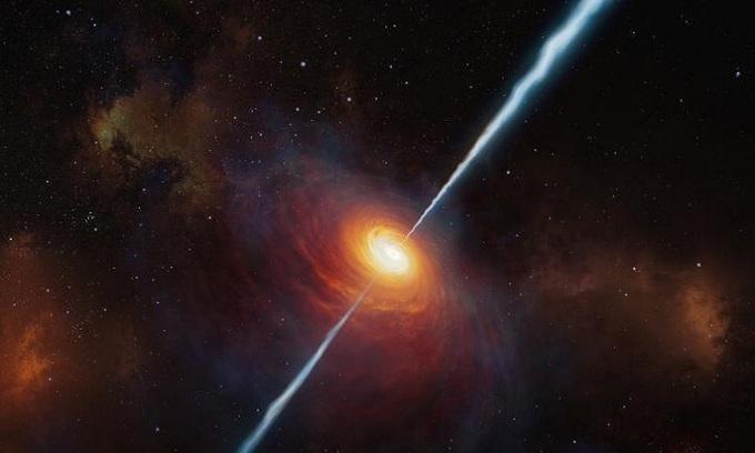 Mô phỏng chuẩn tinh P172+18 và dòng tia của nó. - Ảnh: Đài quan sát Nam châu Âu.