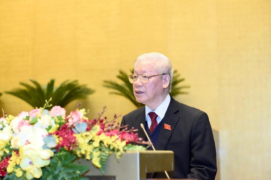 Tổng Bí thư, Chủ tịch nước Nguyễn Phú Trọng trình bày Báo cáo công tác của Chủ tịch nước nhiệm kỳ 2016-2021. - Ảnh: VGP/Nhật Bắc