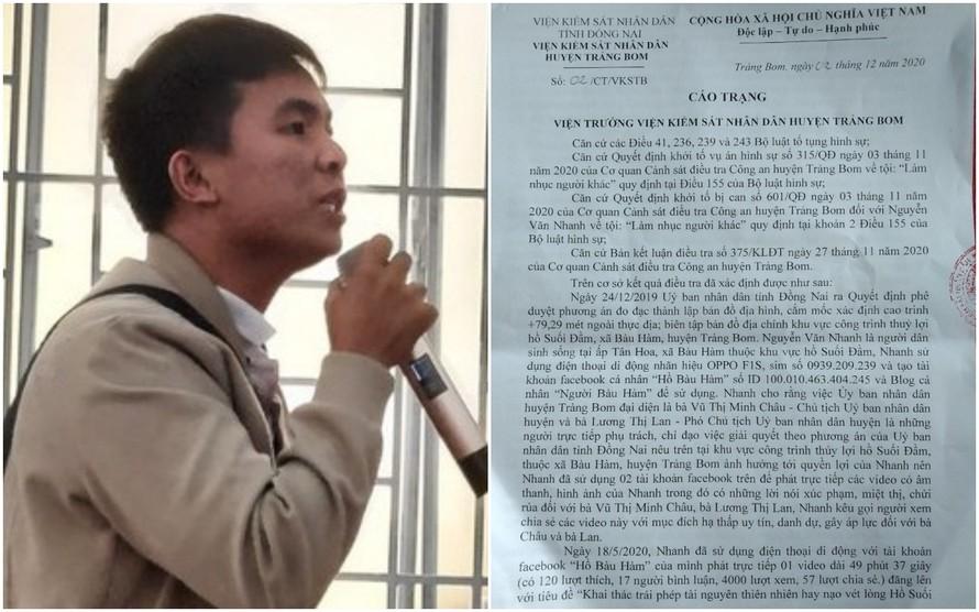 Ông Nhanh livestream trên mạng xã hội Facebook phàn nàn về thái độ làm việc của lãnh đạo huyện Trảng Bom, sau đó bị khởi tố, truy tố.