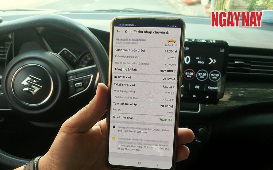 Phí sử dụng ứng dụng mà Be thu của khách chỉ hiển thị trên màn hình ứng dụng của tài xế.