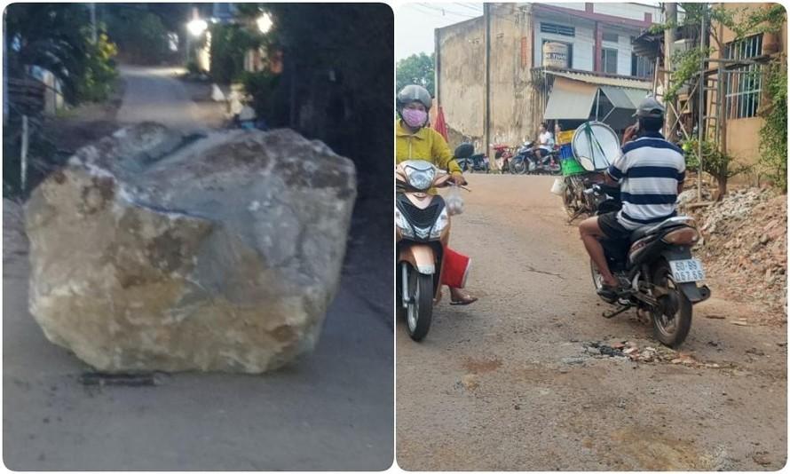 Xe ben làm rơi tảng đá mồ côi nặng cả tấn xuống đường.