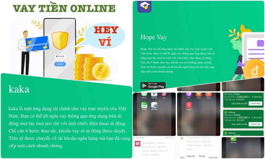 Chị Oanh đăng ký vay tiền thông qua 5 App có tên: hopevay, vaytinhanh, vitienloi, heyvi và kaka.