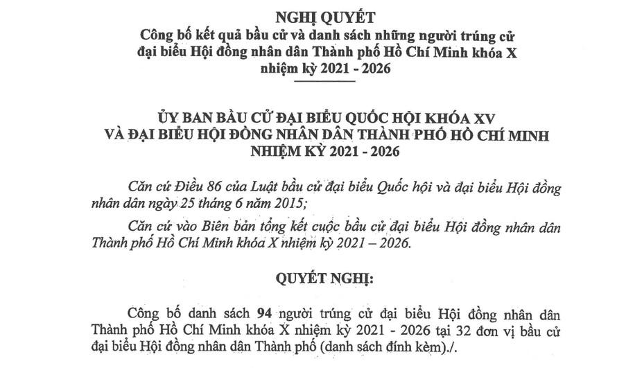 """Nghị quyết số 132/NQ-UBBC về """"Công bố kết quả bầu cử và danh sách những người trúng cử đại biểu Hội đồng nhân dân TP.HCM khóa X nhiệm kỳ 2021 – 2026."""