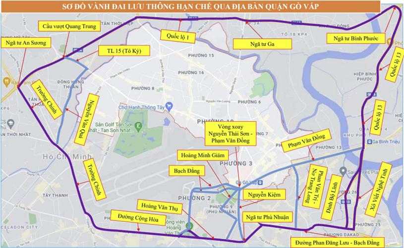 Phân luồng các phương tiệu lưu thông qua quận Gò Vấp. (Ảnh đồ họa: TTBC TP.HCM)