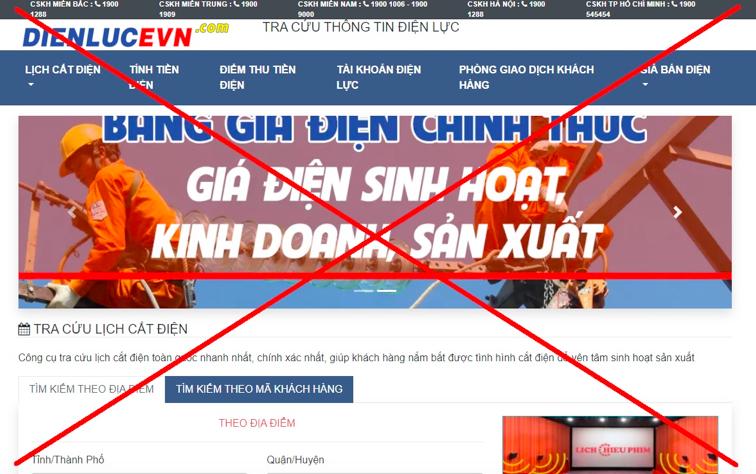 Trang web này đã sử dụng tên miền và một số nội dung, hình ảnh gây hiểu nhầm là ấn phẩm thông tin thuộc Tập đoàn Điện lực Việt Nam.