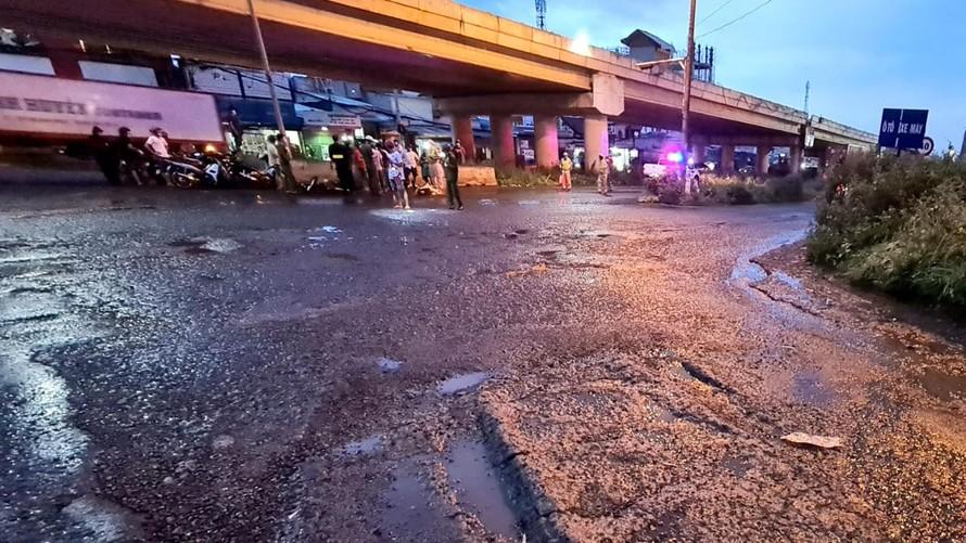 Hiện trường vụ tai nạn tối 13/7.