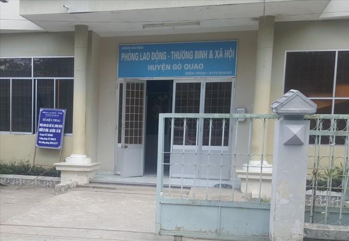 Phòng LĐTB & XH huyện Gò Quao (Kiên Giang). Ảnh Trần Lưu - Báo Lao động.