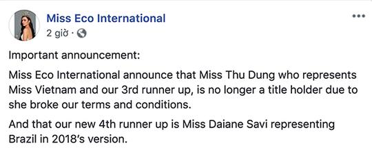 Thông báo tước danh hiệu của Thư Dung từ BCT cuộc thi Hoa hậu Sinh thái Quốc tế