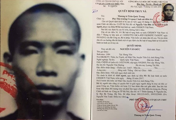 Lệnh truy nã Nguyễn Văn Đức của Công an TP Hà Nội.