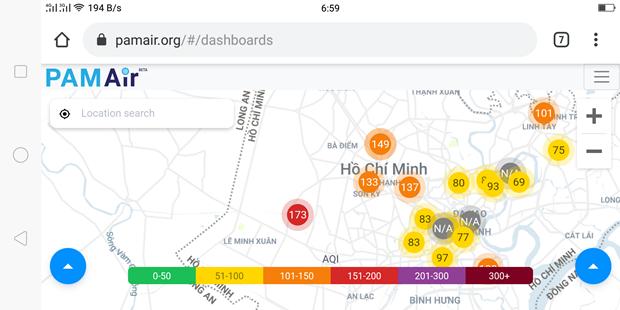 Số liệu quan trắc chất lượng không khí trên ứng dụng online Pam Air, tại Hà Nội trong sáng 24/9. (Ảnh: Chụp màn hình)