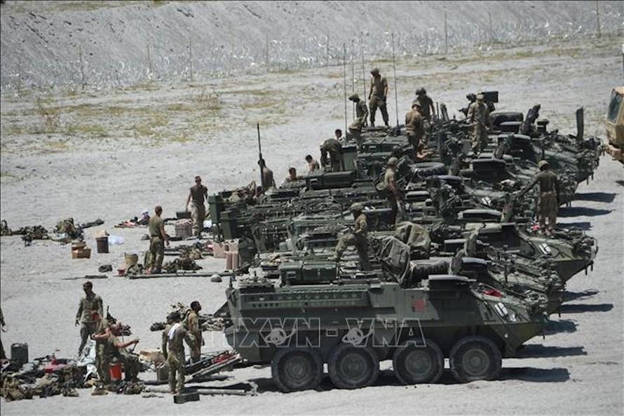 Binh sĩ Mỹ tham gia cuộc tập trận chung Mỹ - Philippines tại Crow Valley, tỉnh Tarlac, Philippines, ngày 10/4/2019. Ảnh: AFP/TTXVN