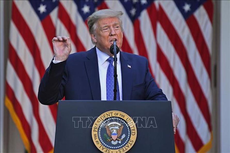 Tổng thống Mỹ Donald Trump tại cuộc họp báo ở Washington, DC. Ảnh: AFP/TTXVN