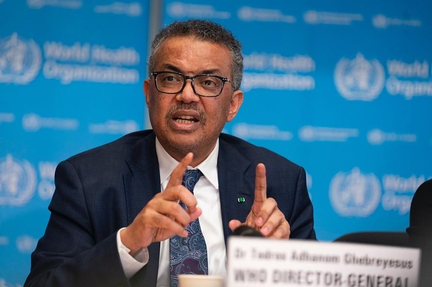 Tổng giám đốc WHO Tedros Adhanom Ghebreyesus trong cuộc họp báo tại Geneva, Thuỵ Sĩ hồi tháng 3.