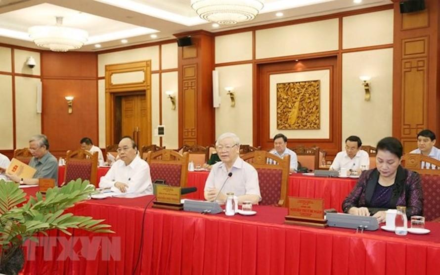 Tổng Bí thư, Chủ tịch nước Nguyễn Phú Trọng chủ trì buổi làm việc của tập thể Bộ Chính trị với Thường vụ Đảng ủy Công an Trung ương.
