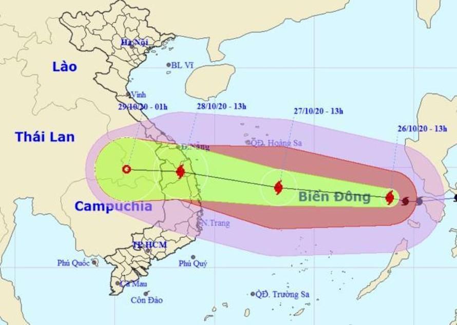 Vị trí và hướng di chuyển của bão số 9.