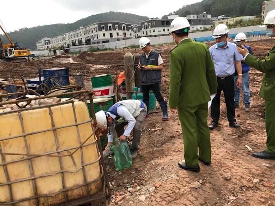 Cơ quan chức năng kiểm tra tại dự án đầu tư xây dựng chung cư thương mại giá rẻ và nhà ở liền kề thấp tầng khu du dịch vụ hậu cần cảng Cái Lân.