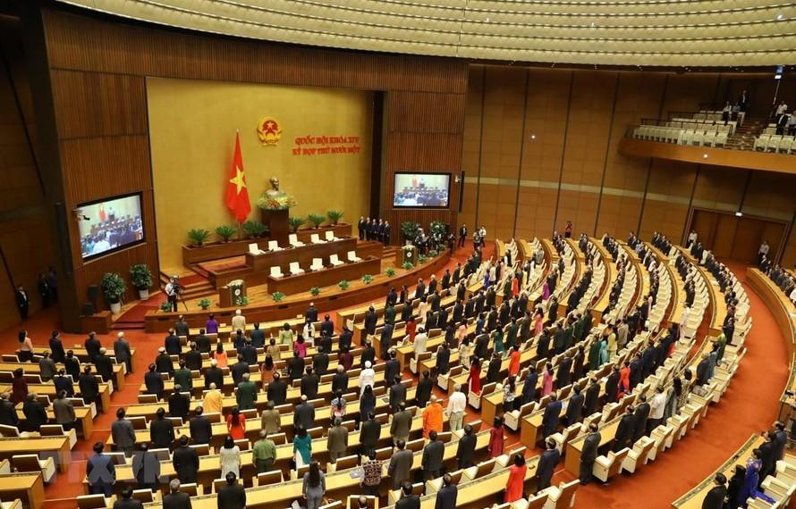 Toàn cảnh lễ chào cờ bế mạc Kỳ họp thứ 11, Quốc hội khóa XIV.