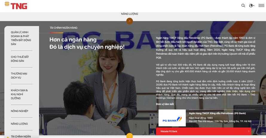 Hình ảnh của PG Bank xuất hiện trên website của Tập đoàn TNG