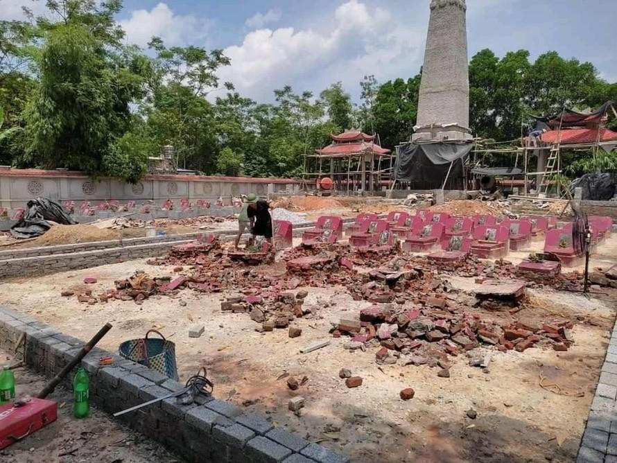 Thái Nguyên: Nhà thầu thi công phá dỡ, san bằng toàn bộ mộ liệt sĩ