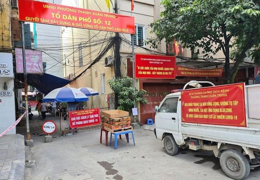 Chốt cách ly ngõ 328 và ngõ 330 đường Nguyễn Trãi, quận Thanh Xuân (Ảnh minh hoạ)
