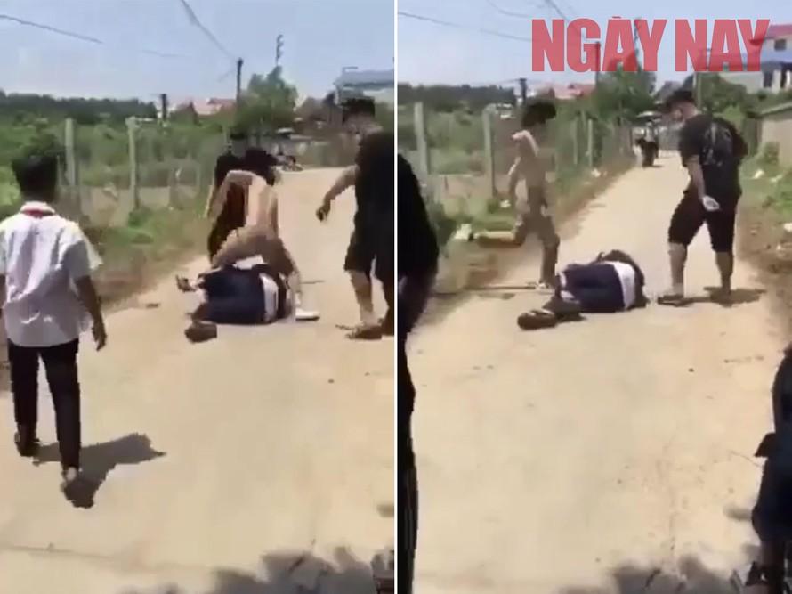 Hình ảnh vụ ẩu đả mà nhóm học sinh tại Thái Nguyên gây ra (Ảnh cắt từ clip)
