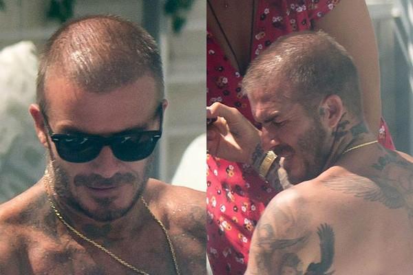 Beckham lộ đầu hói, thân mật với gái lạ bên hồ bơi